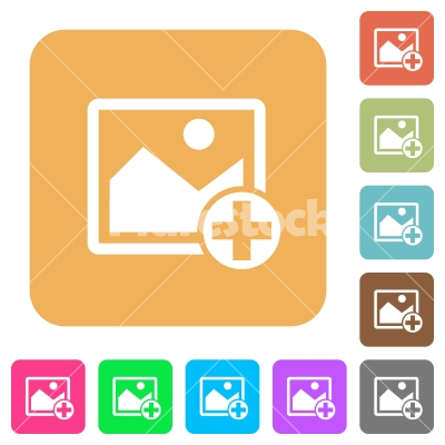 Add new image rounded square flat icons - Add new image flat icons on rounded square vivid color backgrounds.