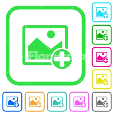 Add new image vivid colored flat icons - Add new image vivid colored flat icons in curved borders on white background