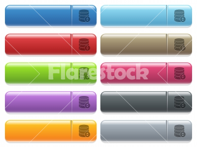 Adjust database value icons on color glossy, rectangular menu button - Adjust database value engraved style icons on long, rectangular, glossy color menu buttons. Available copyspaces for menu captions.