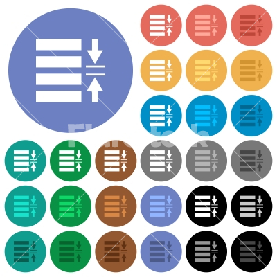 Adjust line spacing round flat multi colored icons - Adjust line spacing multi colored flat icons on round backgrounds. Included white, light and dark icon variations for hover and active status effects, and bonus shades on black backgounds.