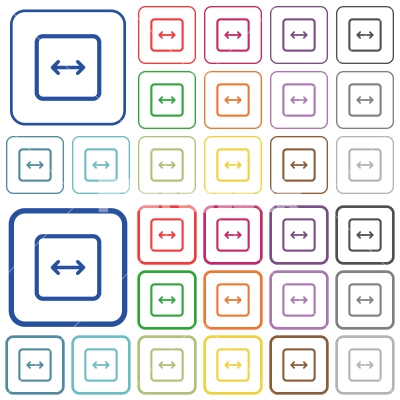 Adjust object width outlined flat color icons - Adjust object width color flat icons in rounded square frames. Thin and thick versions included.