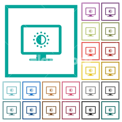 Adjust screen saturation flat color icons with quadrant frames - Adjust screen saturation flat color icons with quadrant frames on white background