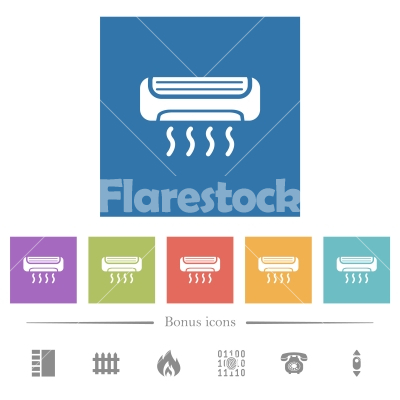 Air conditioner flat white icons in square backgrounds - Air conditioner flat white icons in square backgrounds. 6 bonus icons included.