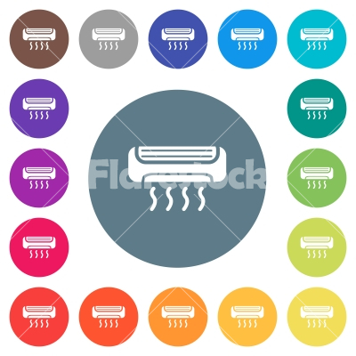Air conditioner flat white icons on round color backgrounds - Air conditioner flat white icons on round color backgrounds. 17 background color variations are included.