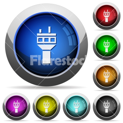 Air control tower round glossy buttons - Air control tower icons in round glossy buttons with steel frames