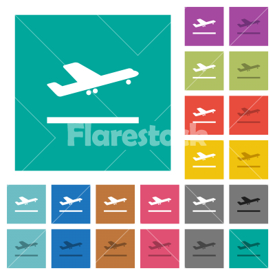 Airplane take off square flat multi colored icons - Airplane take off multi colored flat icons on plain square backgrounds. Included white and darker icon variations for hover or active effects.