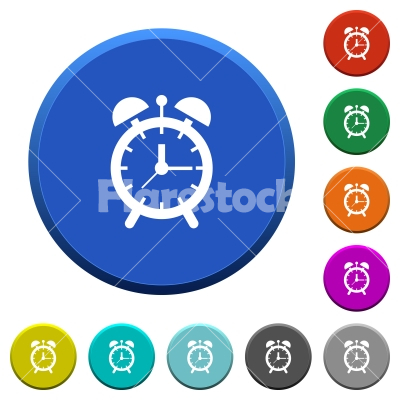 Alarm clock beveled buttons - Alarm clock round color beveled buttons with smooth surfaces and flat white icons