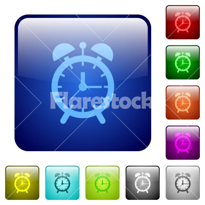 Alarm clock color square buttons - Alarm clock icons in rounded square color glossy button set