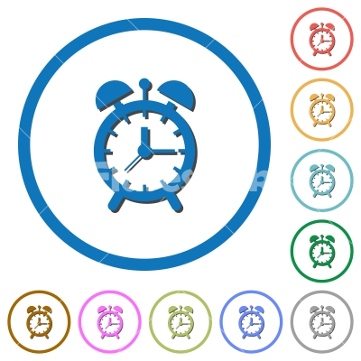 Alarm clock icons with shadows and outlines - Alarm clock flat color vector icons with shadows in round outlines on white background