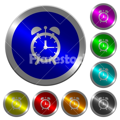 Alarm clock luminous coin-like round color buttons - Alarm clock icons on round luminous coin-like color steel buttons