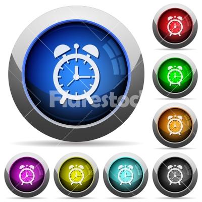 Alarm clock round glossy buttons - Alarm clock icons in round glossy buttons with steel frames