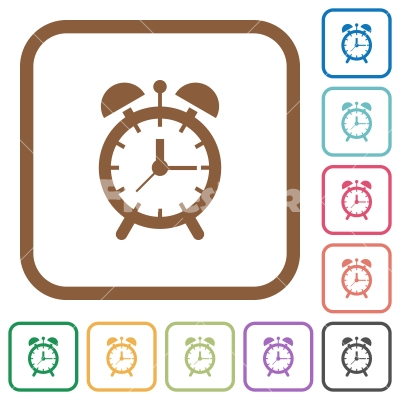 Alarm clock simple icons - Alarm clock simple icons in color rounded square frames on white background
