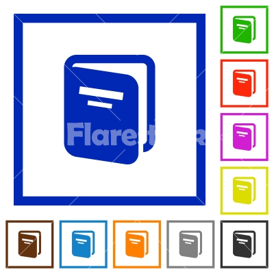 Album flat framed icons - Album flat color icons in square frames on white background