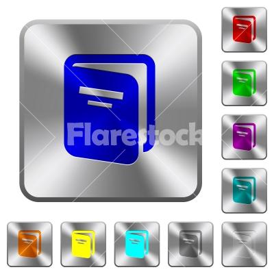 Album rounded square steel buttons - Album engraved icons on rounded square glossy steel buttons