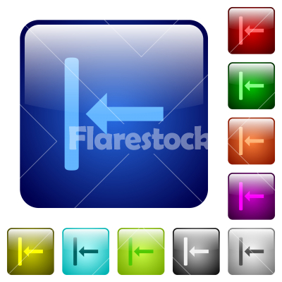 Align to left color square buttons - Align to left icons in rounded square color glossy button set