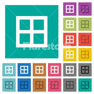 All borders square flat multi colored icons - All borders multi colored flat icons on plain square backgrounds. Included white and darker icon variations for hover or active effects.