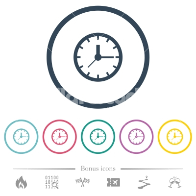 Analog clock flat color icons in round outlines - Analog clock flat color icons in round outlines. 6 bonus icons included.