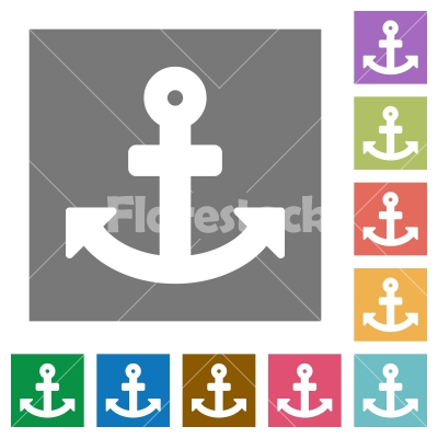 Anchor square flat icons - Anchor flat icon set on color square background.