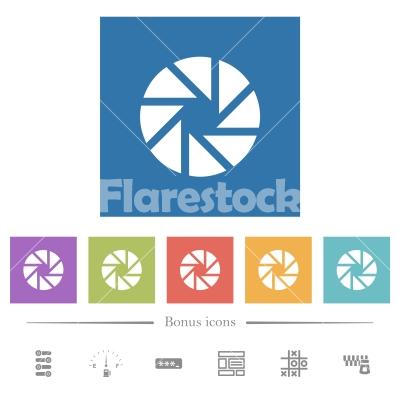 Aperture flat white icons in square backgrounds - Aperture flat white icons in square backgrounds. 6 bonus icons included.