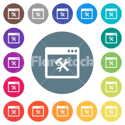 Application tools flat white icons on round color backgrounds - Application tools flat white icons on round color backgrounds. 17 background color variations are included.