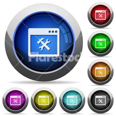 Application tools round glossy buttons - Application tools icons in round glossy buttons with steel frames - Free stock vector