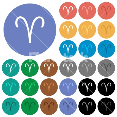 Aries zodiac symbol round flat multi colored icons - Aries zodiac symbol multi colored flat icons on round backgrounds. Included white, light and dark icon variations for hover and active status effects, and bonus shades.