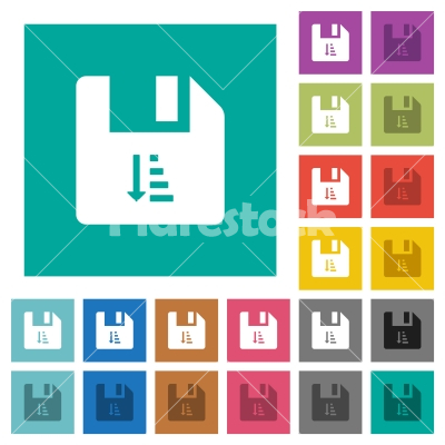 Ascending file sort square flat multi colored icons - Ascending file sort multi colored flat icons on plain square backgrounds. Included white and darker icon variations for hover or active effects.