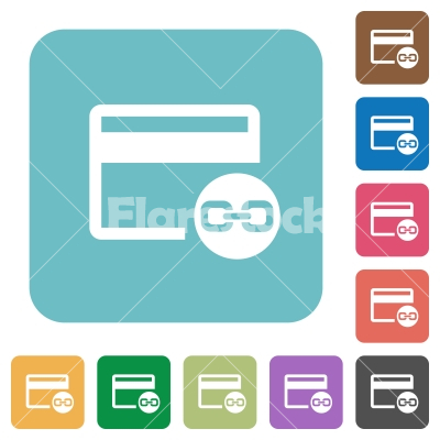 Attach credit card to account rounded square flat icons - Attach credit card to account white flat icons on color rounded square backgrounds