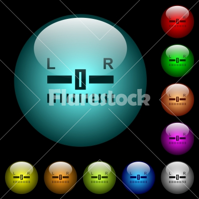 Audio balance control icons in color illuminated glass buttons - Audio balance control icons in color illuminated spherical glass buttons on black background. Can be used to black or dark templates