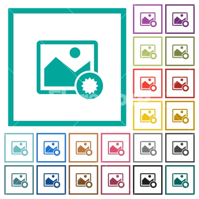 Authentic image flat color icons with quadrant frames - Authentic image flat color icons with quadrant frames on white background
