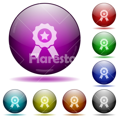 Award glass sphere buttons - Set of color award glass sphere buttons with shadows.