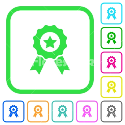 Award with ribbons vivid colored flat icons - Award with ribbons vivid colored flat icons in curved borders on white background