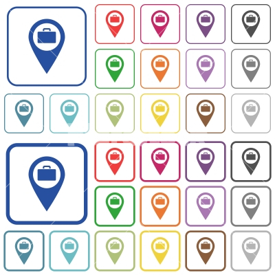 Baggage storage GPS map location outlined flat color icons - Baggage storage GPS map location color flat icons in rounded square frames. Thin and thick versions included.