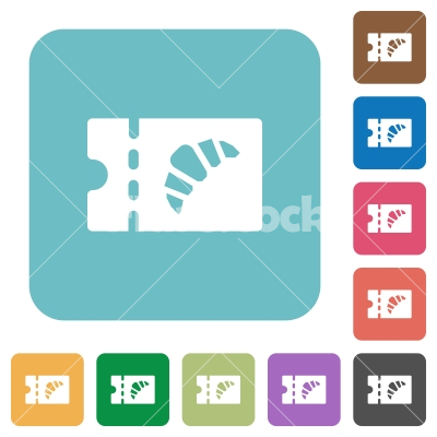 Bakery discount coupon rounded square flat icons - Bakery discount coupon white flat icons on color rounded square backgrounds - Free stock vector