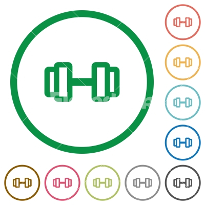 Barbell flat icons with outlines - Barbell flat color icons in round outlines on white background