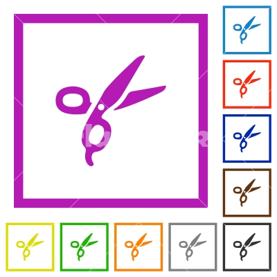 Barber scissors flat framed icons - Barber scissors flat color icons in square frames on white background