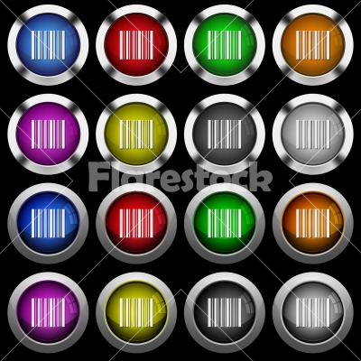 Barcode white icons in round glossy buttons on black background - Barcode white icons in round glossy buttons with steel frames on black background. The buttons are in two different styles and eight colors.