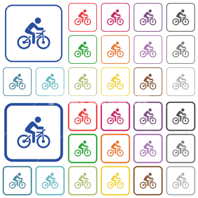 Bicycle with rider outlined flat color icons - Bicycle with rider color flat icons in rounded square frames. Thin and thick versions included.