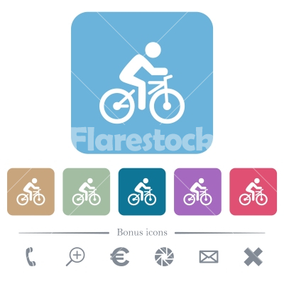 Bicycle with rider rounded square flat icons - Bicycle with rider white flat icons on color rounded square backgrounds