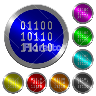 Binary code luminous coin-like round color buttons - Binary code icons on round luminous coin-like color steel buttons