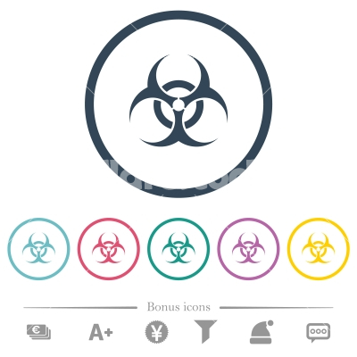 Biohazard sign flat color icons in round outlines - Biohazard sign flat color icons in round outlines. 6 bonus icons included.