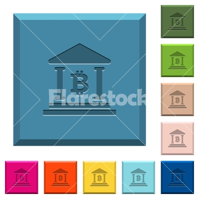 Bitcoin bank office engraved icons on edged square buttons - Bitcoin bank office engraved icons on edged square buttons in various trendy colors
