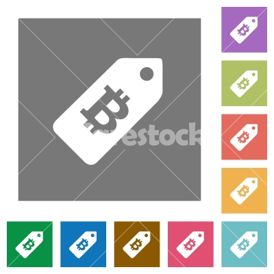 Bitcoin price label square flat icons - Bitcoin price label flat icons on simple color square backgrounds
