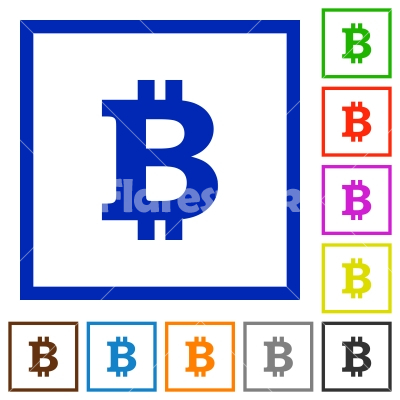 Bitcoin sign framed flat icons - Set of color square framed bitcoin sign flat icons on white background