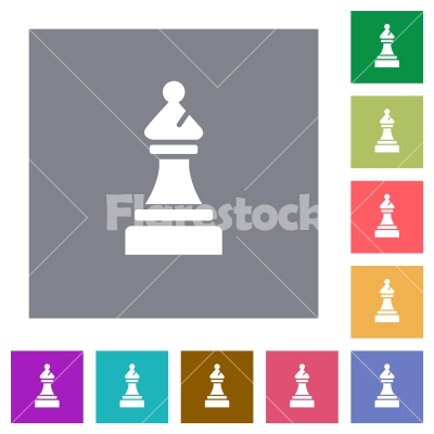 Black chess bishop square flat icons - Black chess bishop flat icons on simple color square backgrounds