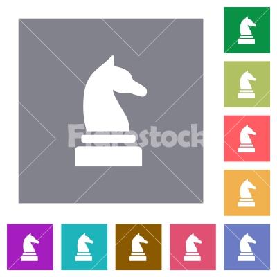 Black chess knight square flat icons - Black chess knight flat icons on simple color square backgrounds