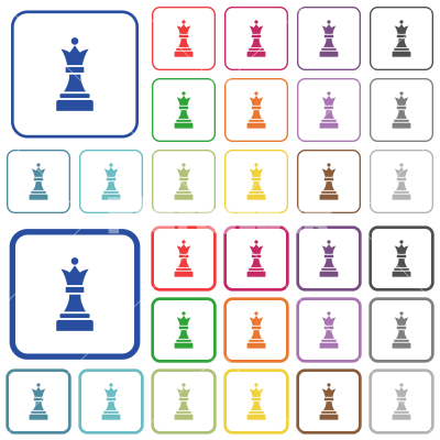 Black chess queen outlined flat color icons - Black chess queen color flat icons in rounded square frames. Thin and thick versions included.