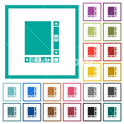 Blank document with scroll bars flat color icons with quadrant frames - Blank document with scroll bars flat color icons with quadrant frames on white background - Free stock vector