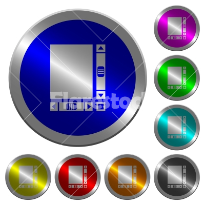 Blank document with scroll bars luminous coin-like round color buttons - Blank document with scroll bars icons on round luminous coin-like color steel buttons