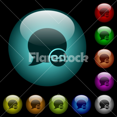Blog comment attachment icons in color illuminated glass buttons - Blog comment attachment icons in color illuminated spherical glass buttons on black background. Can be used to black or dark templates